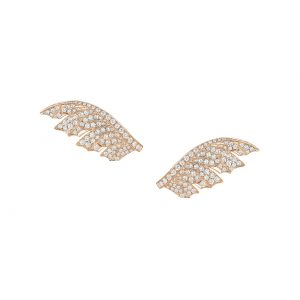 An image of a Stephen Webster rose gold white diamond Magnipheasant Pave earrings