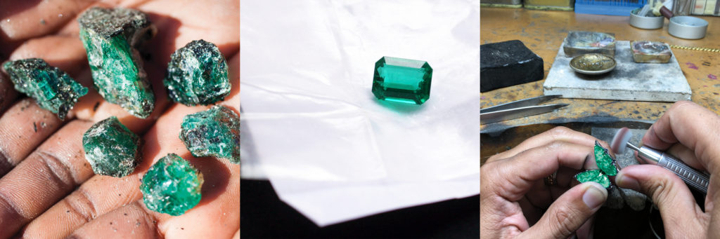 Images of gemfields raw emerald gemstones, cut emerald and at the Stephen Webster workshop for Neiman Marcus's Fantasy Gift