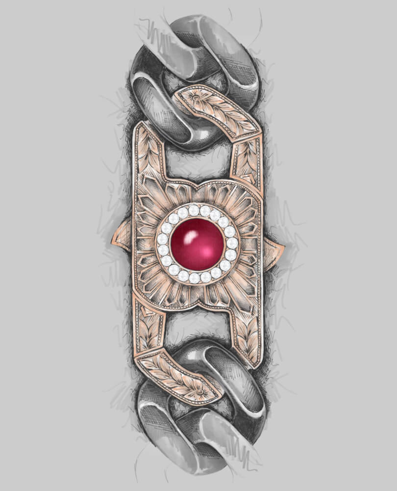 Inspired by the cigar smoking Winston Churchill, this England Made Me bracelet clasp was created in rose gold and white diamonds with a central cabochon ruby.