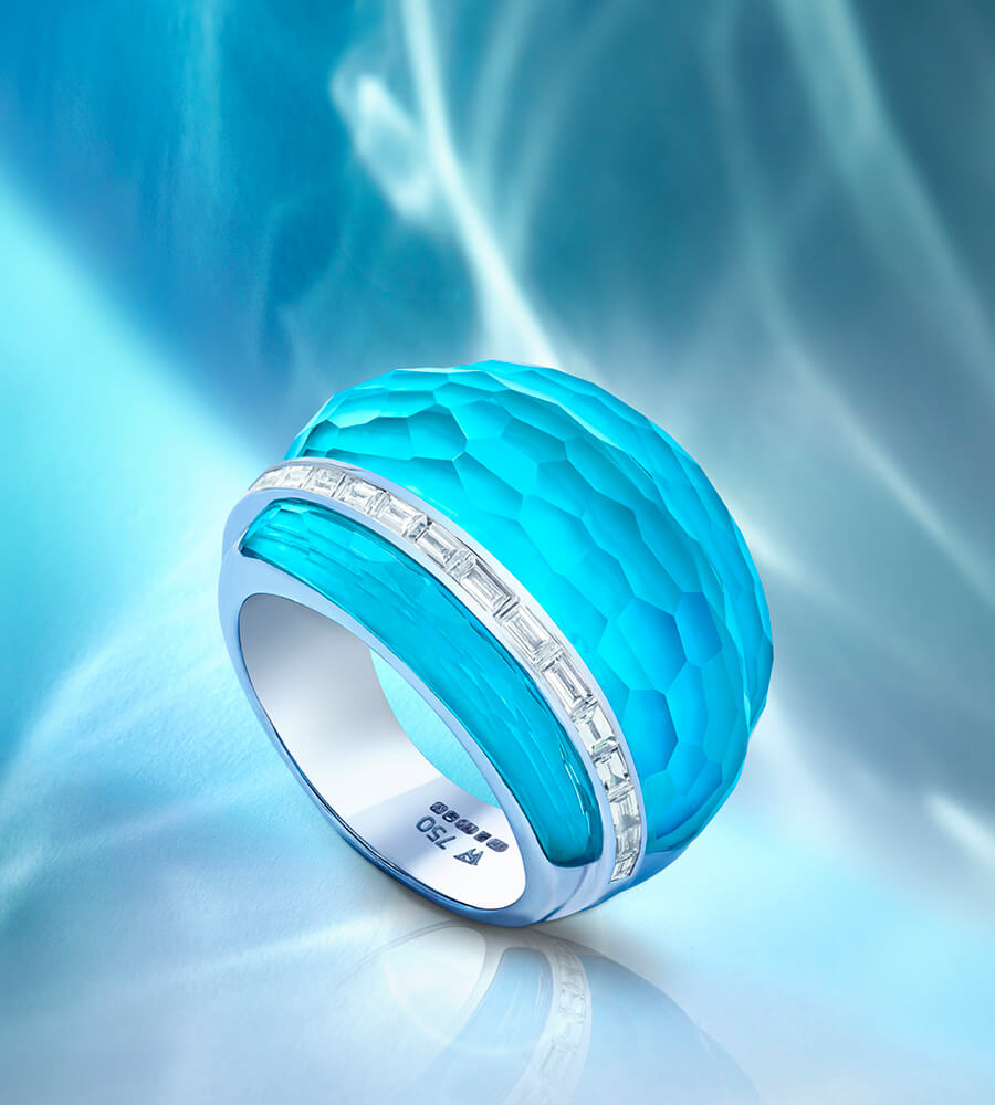 The NEW 'CH2' Dark Turquoise Crystal Haze Cocktail Ring from Stephen Webster.