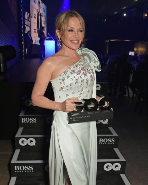 Kylie Minogue wearing Thorn 3D Large Hoop Earrings.
