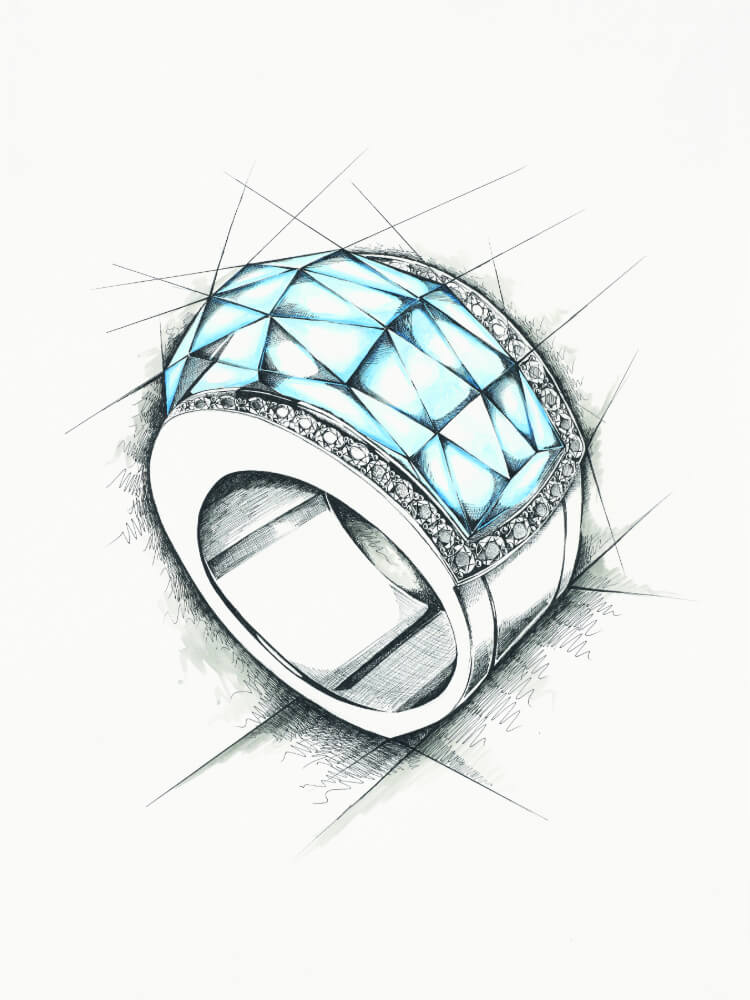 Sketch of the Stephen Webster Crystal Haze Superstud Ring