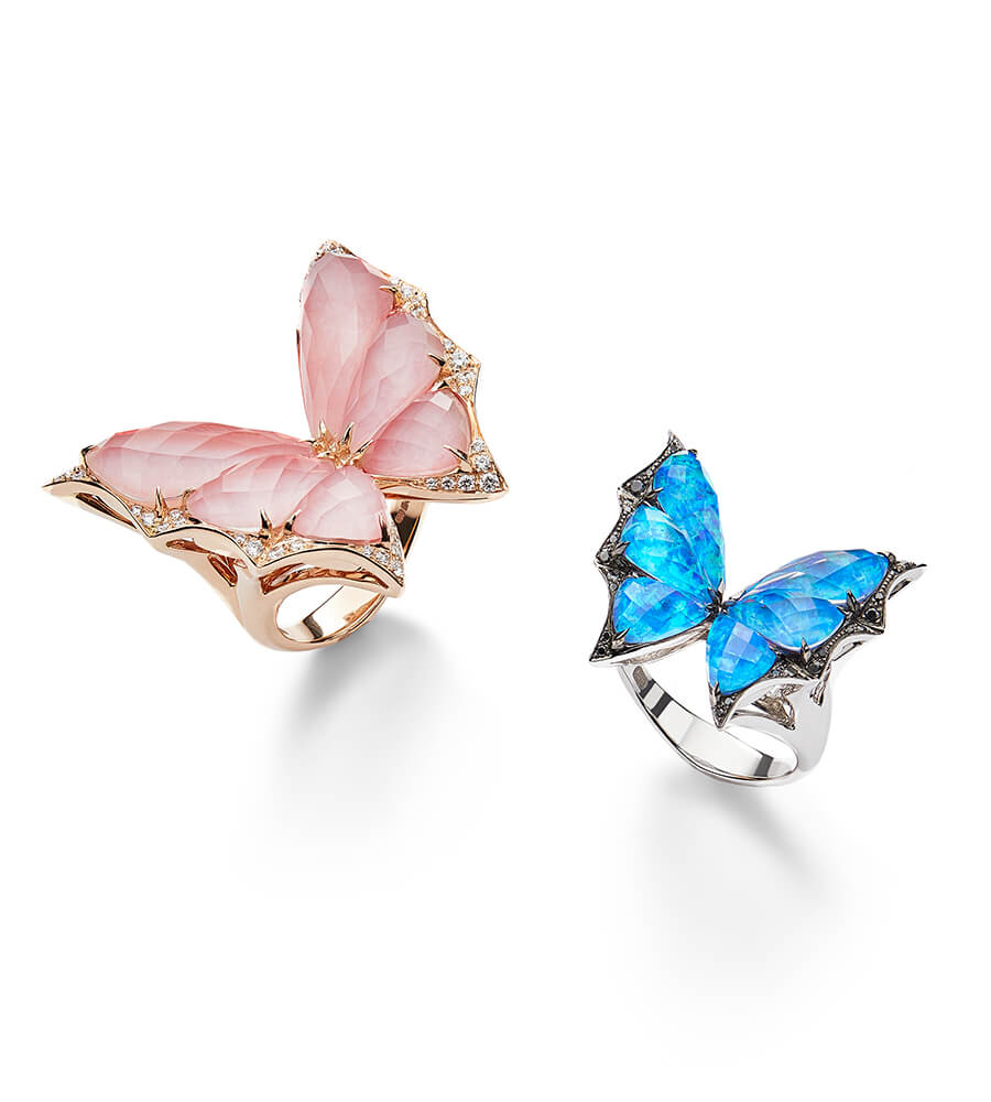 Fly By Night Pink Opal and Black Opalescent Crystal Haze Rings.