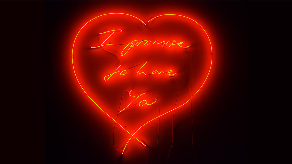 I Promise to Love You neon art exclusively available to see in Harrods, London UK.