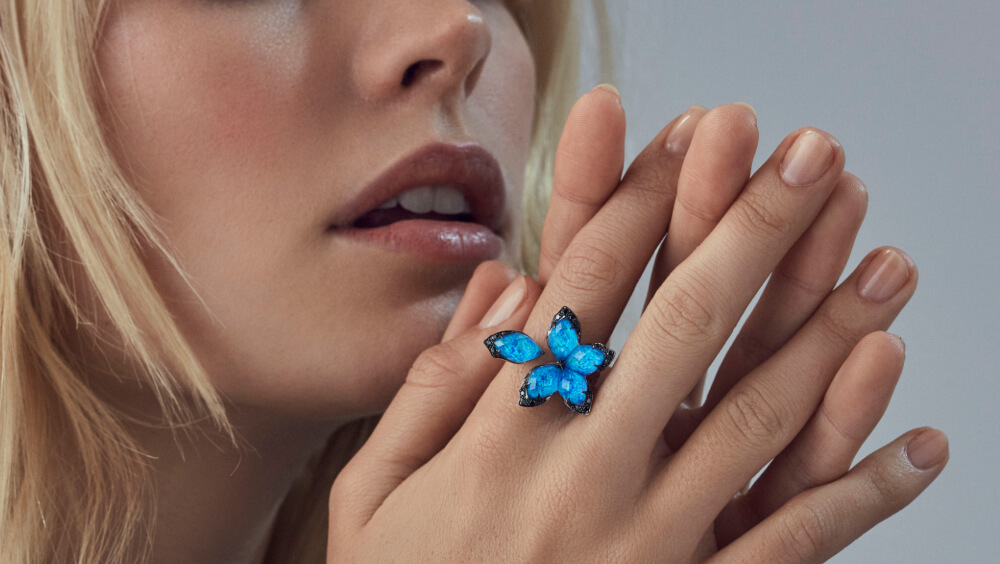 Love Me, Love Me Not Black Opalescent Crystal Haze Ring on model.