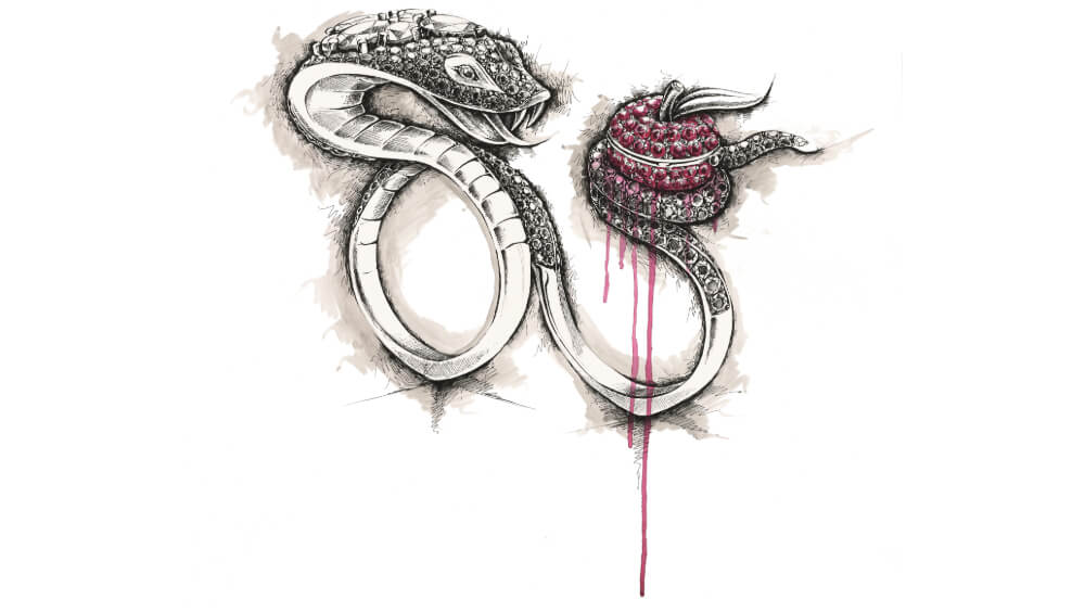 Sketch of No Regrets Snake Ring.