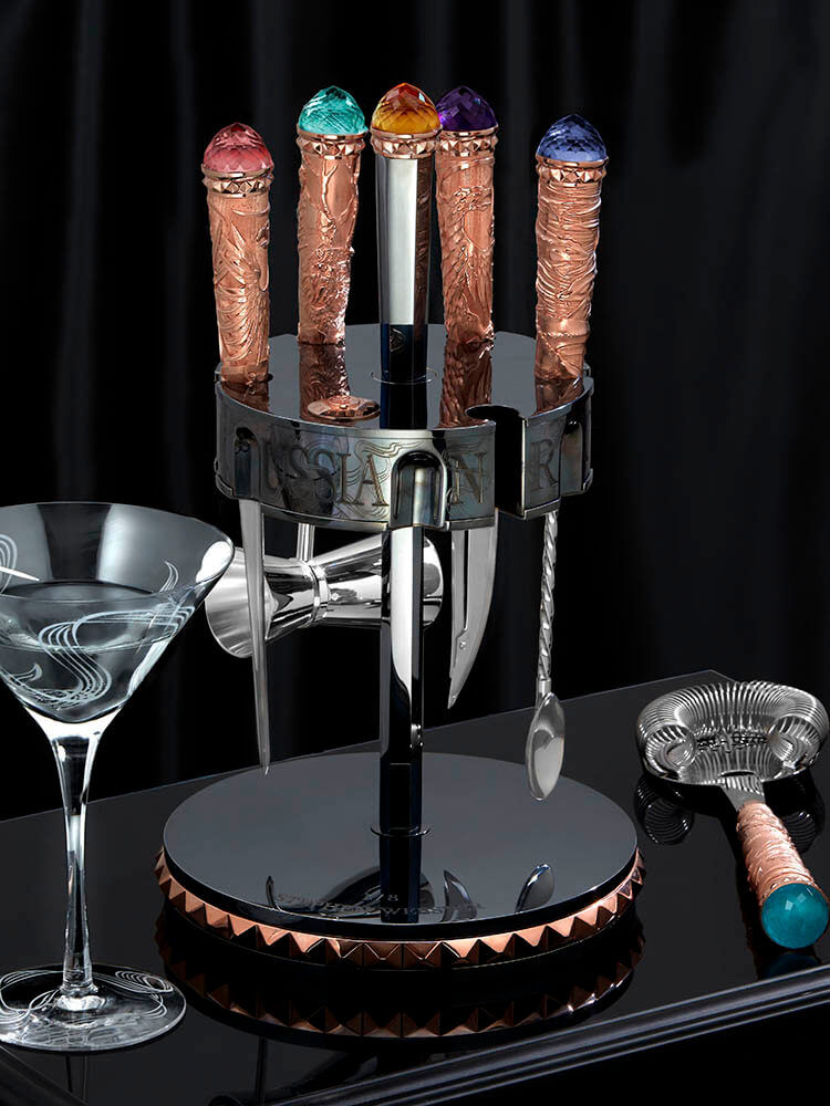 The Russian Roulette Vodka Set alongside the Russian Roulette Martini Glass.