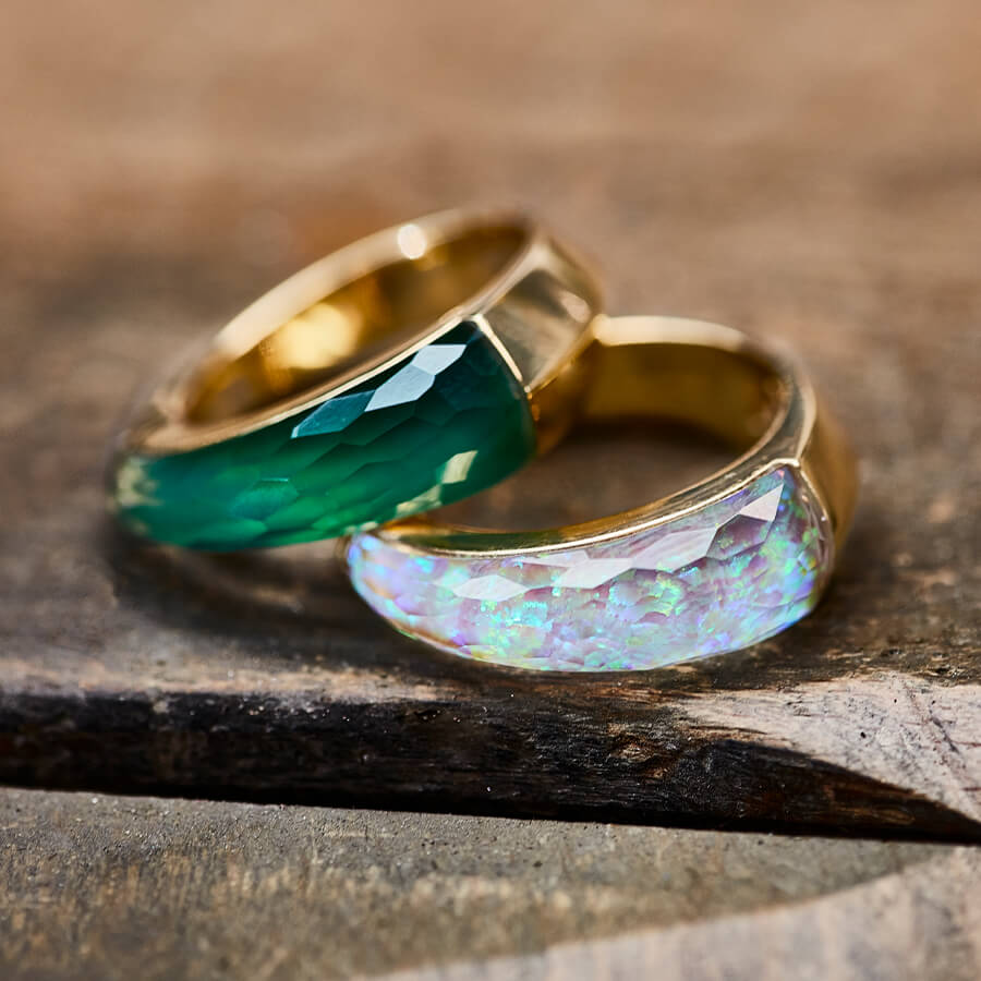 Stephen Webster's CH2 Stacking Rings being completed in the Workshop.