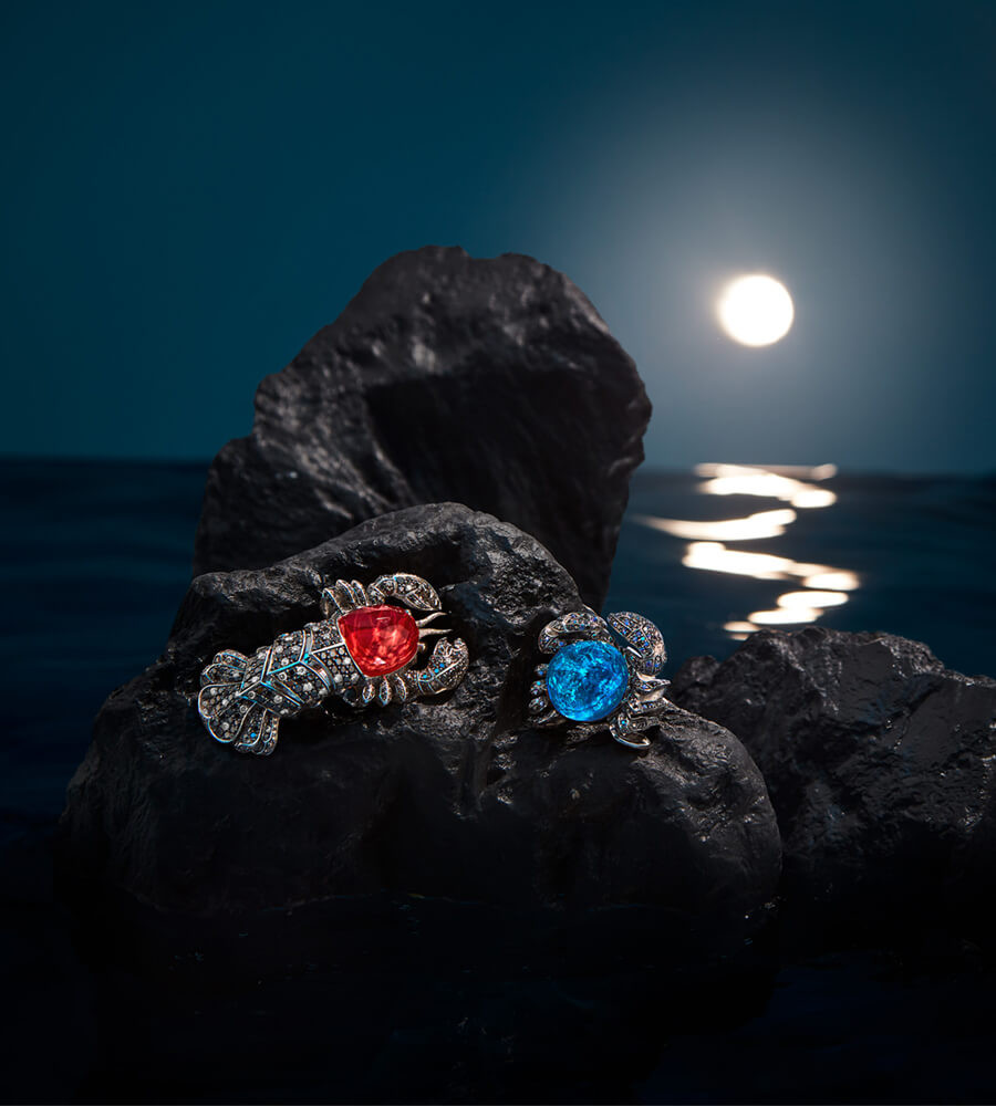 The 'Jewels Verne' Crab Ring in Black Opalescent Crystal Haze and Lobster Ring in Red Coral Crystal Haze from our 'No Regrets' collection.