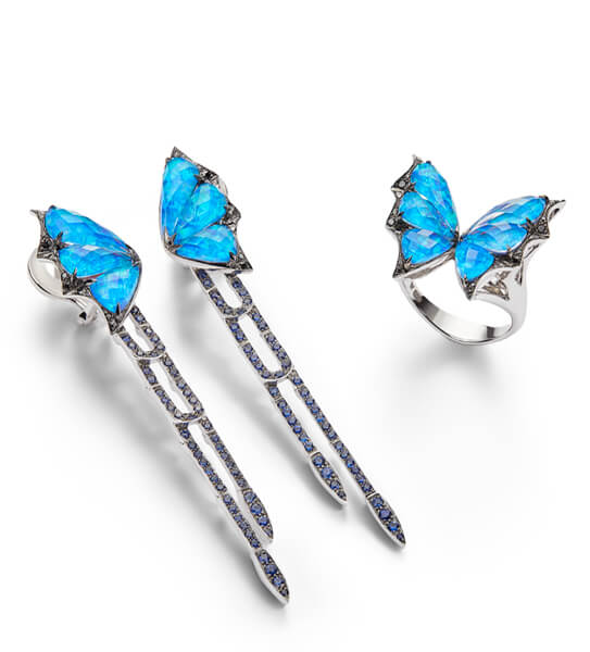 Stephen Webster Fly by Night Black Opalescent Crystal Haze Ring and Long Earrings.