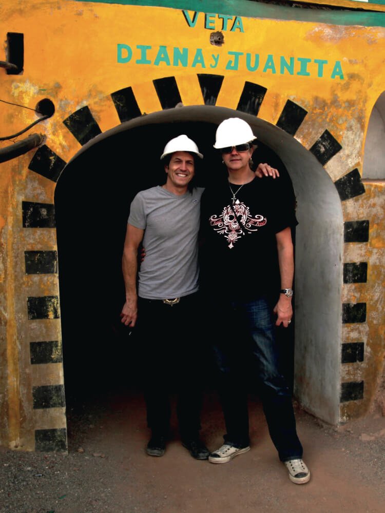 Stephen Webster with his brother, David, at the mines in Peru.