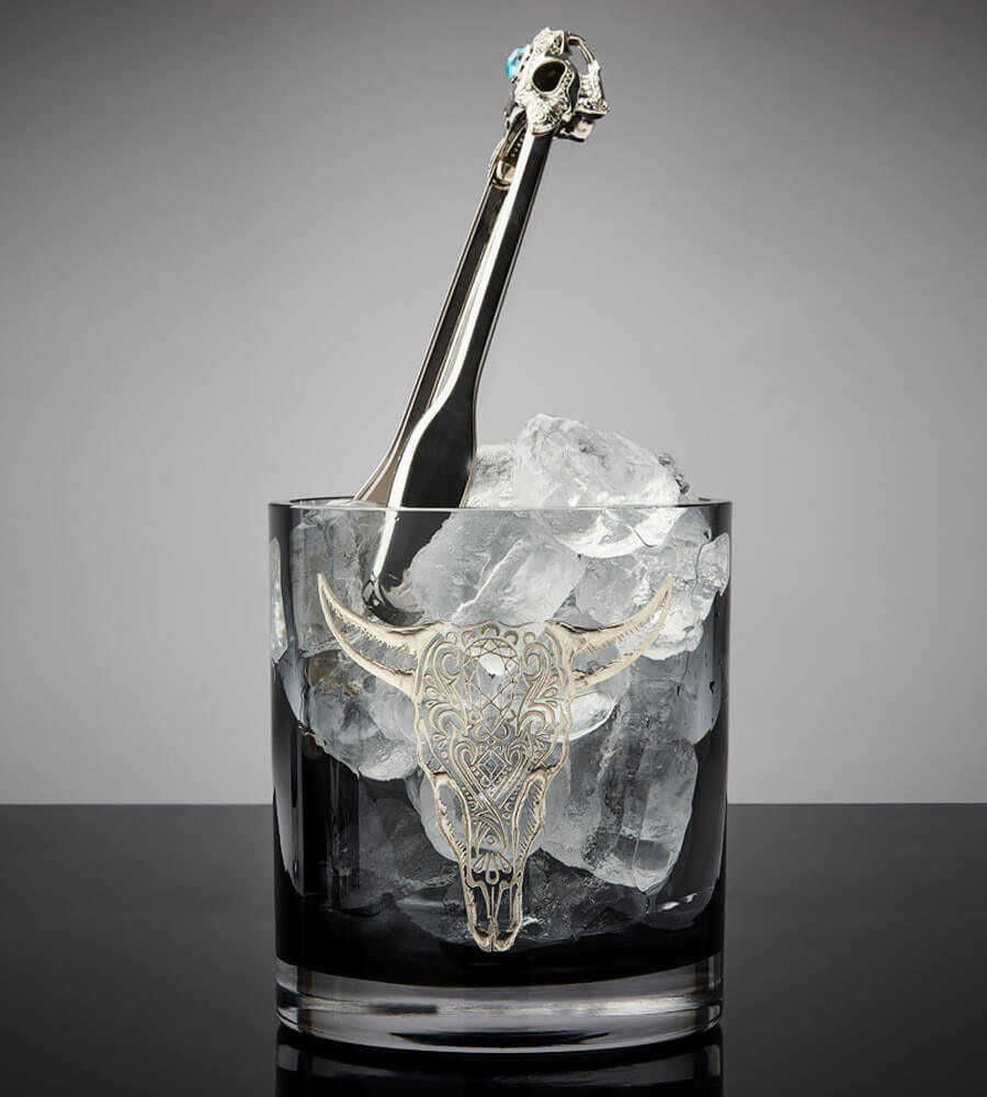 Tequila Lore Rabbit Ice Tongs in the Cow Ice Bucket.