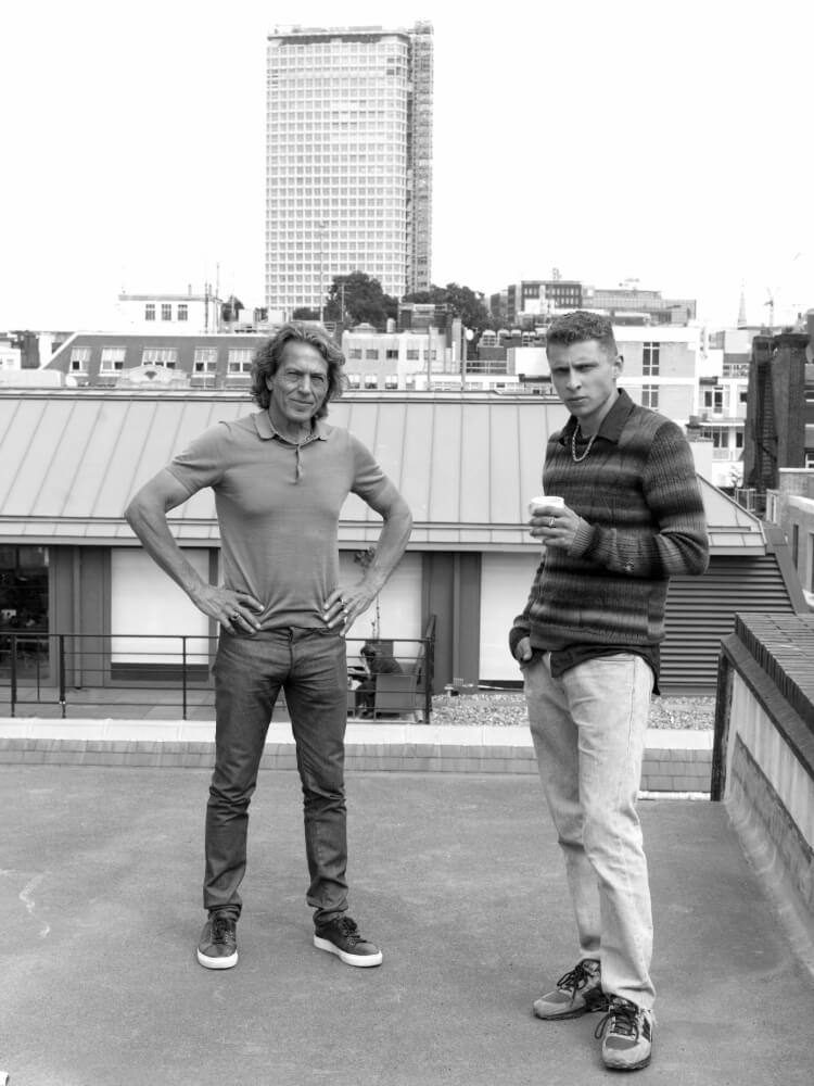 Stephen Webster and Blondey McCoy overlooking the London skyline.