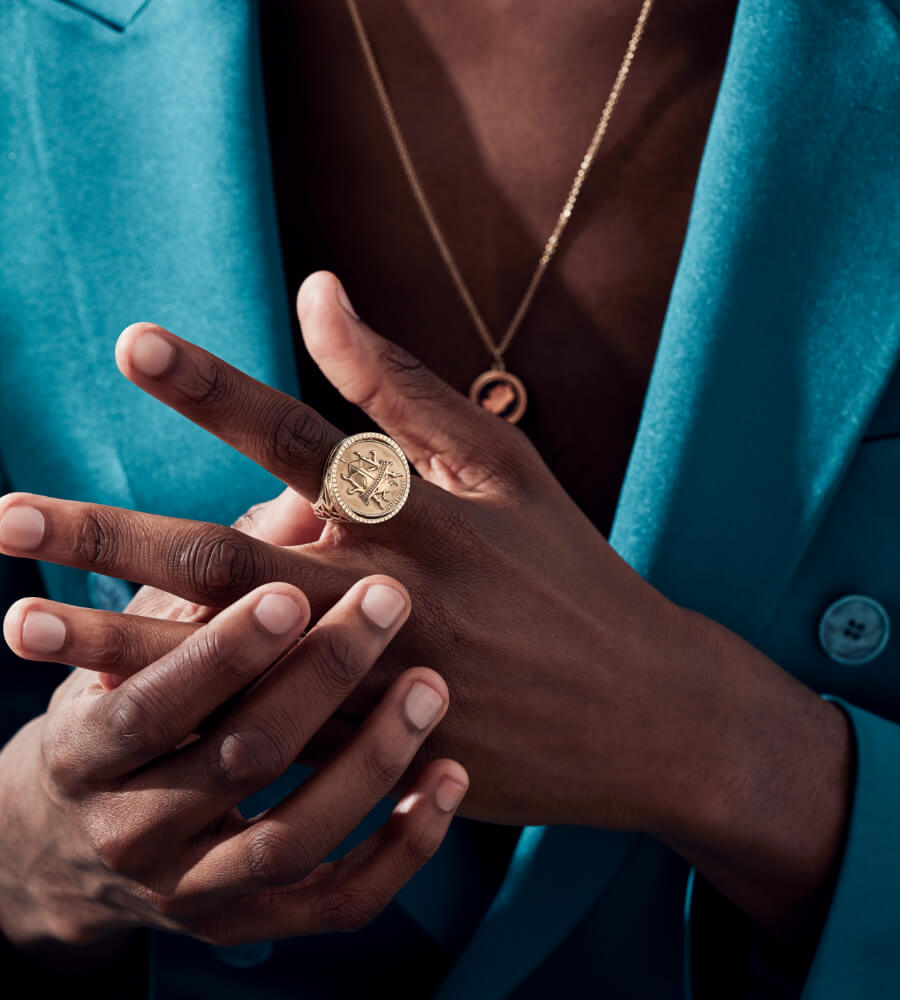 The Flipside Sovereign Ring worn on a model.