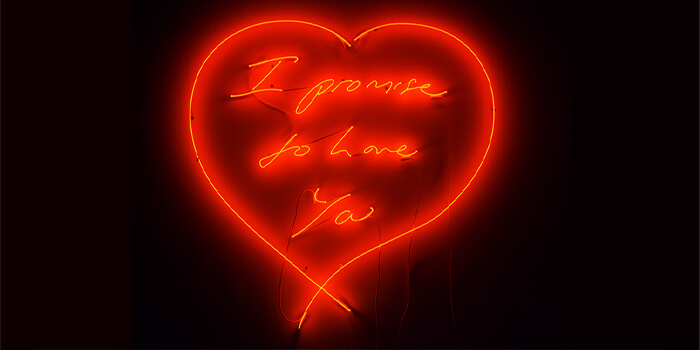 The 'I Promise to Love You' collection is a collaboration from Webster's enduring 40-year friendship with the British artist, Tracey Emin.