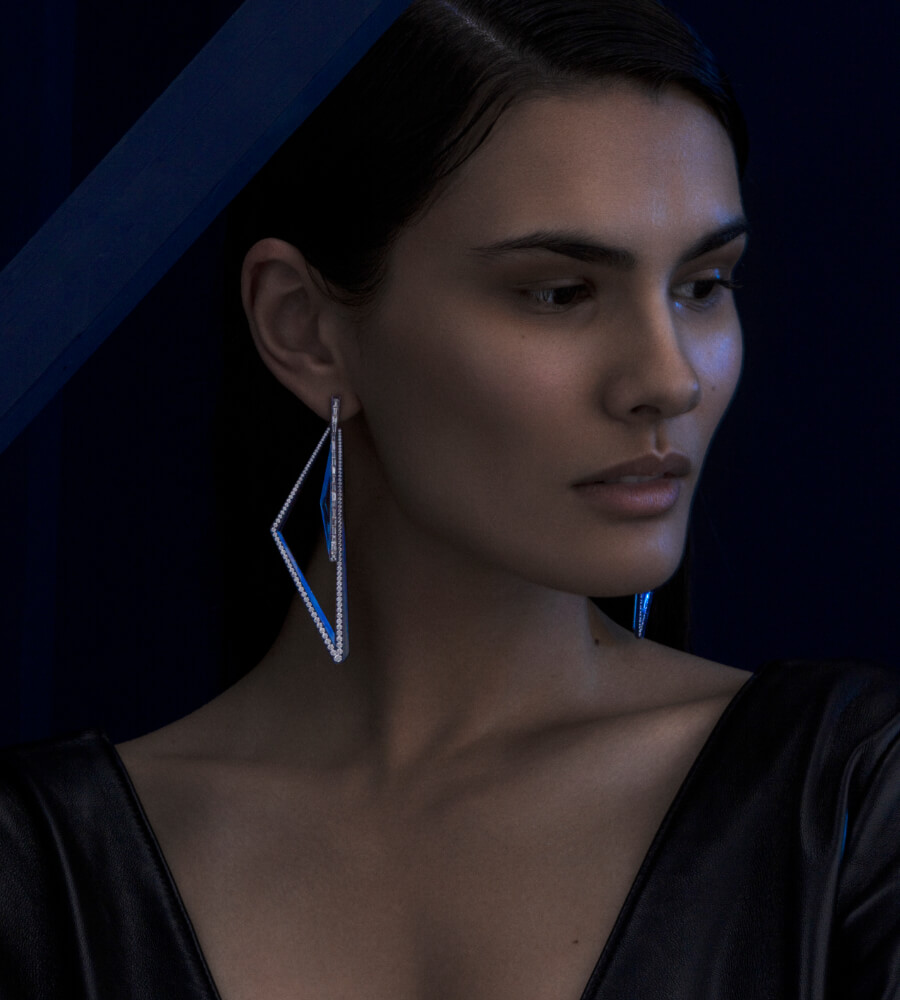 Vertigo Titanium Very Obtuse Hoops on model.