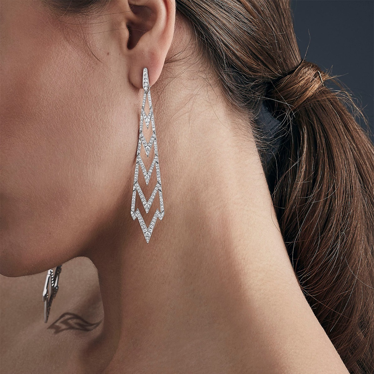 Long Earrings With White Diamonds Set in White Gold | Lady Stardust