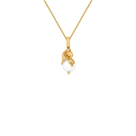Aquarius Yellow Gold and White Pearl Necklace | Astro Balls