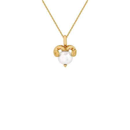 Aries Yellow Gold and White Pearl Necklace   Astro Balls
