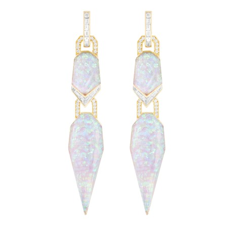 White Opalescent Crystal Haze Threesome Gold Earrings | CH₂