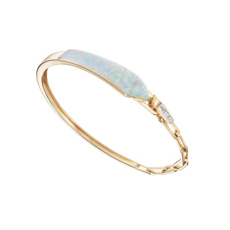 White Opalescent and Diamonds Shard Linked Bracelet | CH₂