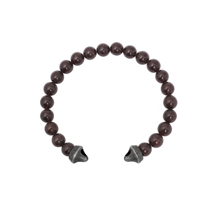Men's Cuban Leaf Garnet Bead Bracelet | England Made Me