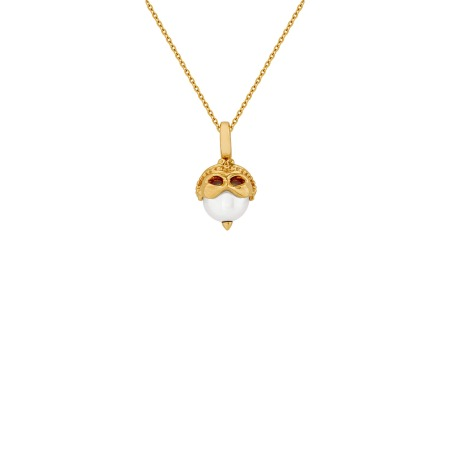 Gemini Yellow Gold and White Pearl Necklace | Astro Balls