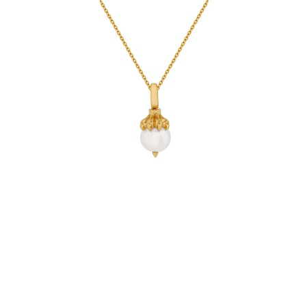 Leo Yellow Gold and White Pearl Necklace   Astro Balls