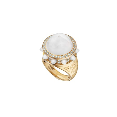 Russian Roulette Bullet Pearl Crystal Haze Ring | No Regrets