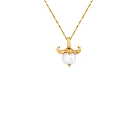 Taurus Yellow Gold and White Pearl Necklace | Astro Balls