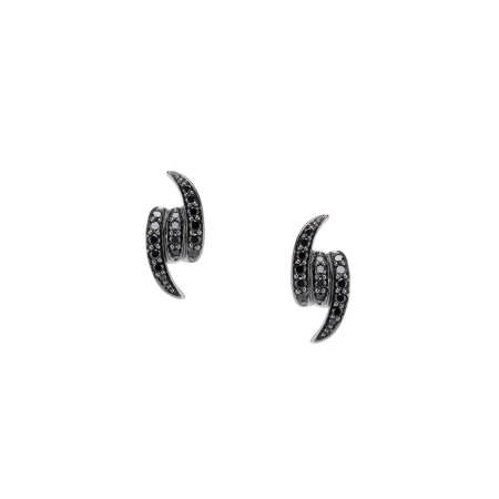 White Gold and Black Diamond Knot Earstuds | Thorn