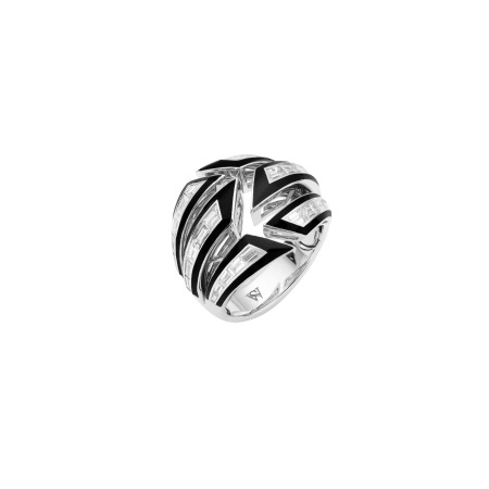 White Gold & Black Enamel Bombé Ring | Dynamite