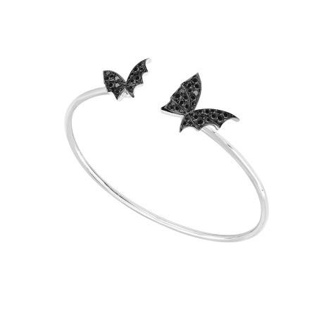 White Gold & Black Diamond Bangle | Fly By Night