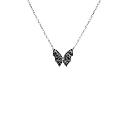 White Gold & Black Diamond Pavé Small Necklace | Fly By Night