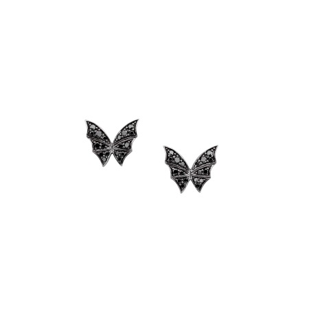 Black Diamond & White Gold Pavé Stud Earrings | Fly By Night