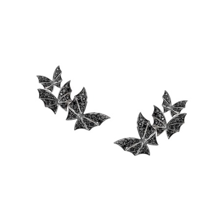 White Gold & Black Diamond Triple Earrings | Fly By Night