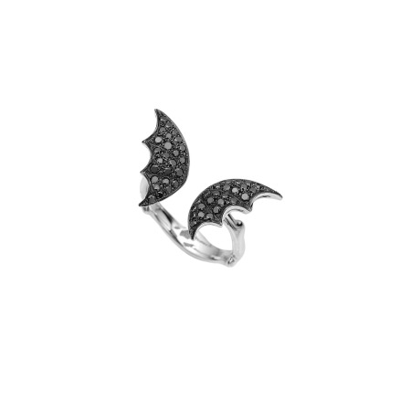 White Gold & Black Diamond Pavé Open Ring | Fly By Night