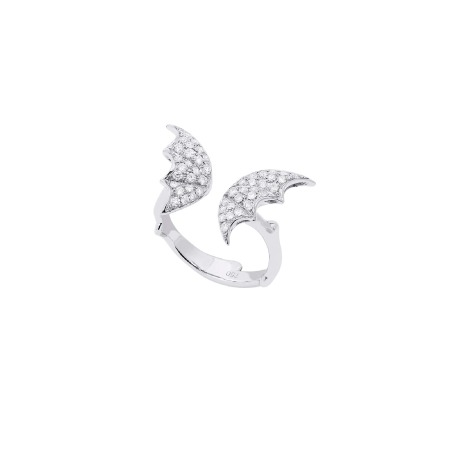 White Gold & White Diamond Pavé Open Ring | Fly By Night