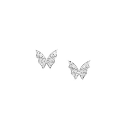 White Gold Pavé Stud Earrings | Fly By Night