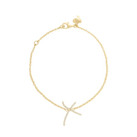 Neon White Diamond & Yellow Gold Kiss Bracelet | I Promise To Love You