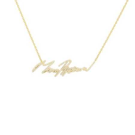 Neon Yellow Gold and White Diamond More Passion Pendant | I Promise To Love You