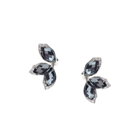 White Gold and Hematite Earstuds | Love Me, Love Me Not