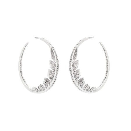 White Gold Pavé Hoop Earrings White Diamonds | Magnipheasant