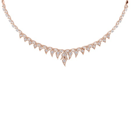 Pavé Short Necklace With White Diamonds Set In Rose Gold | Magnipheasant