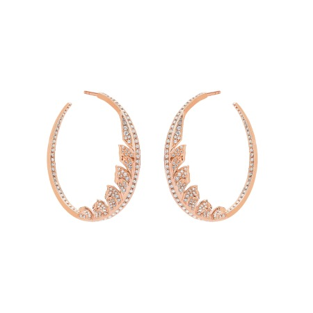 Rose Gold Pavé Hoop Earrings With White Diamonds | Magnipheasant