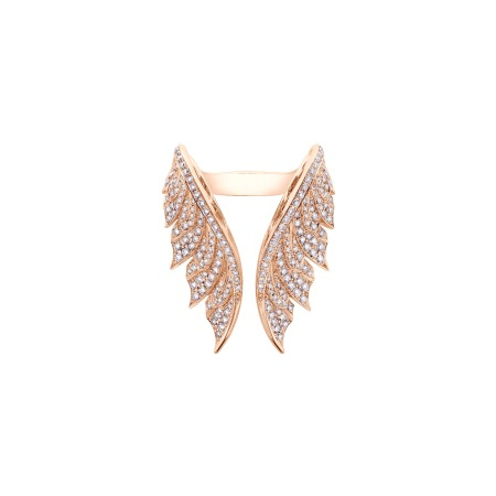 Rose Gold Pavé Open Feather Ring With White Diamonds | Magnipheasant