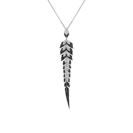 White Gold Pavé Pendant With Black Diamonds | Magnipheasant