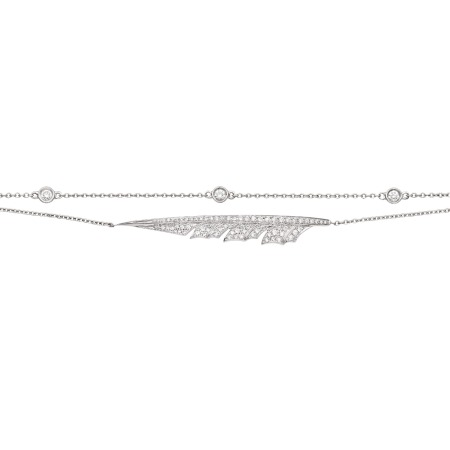 White Gold Pavé Feather Bracelet With White Diamond | Magnipheasant