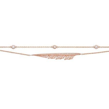 Rose Gold Pavé Feather Bracelet With White Diamond | Magnipheasant