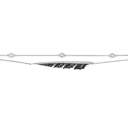 Pavé White Gold Feather Bracelet With Black Diamond | Magnipheasant
